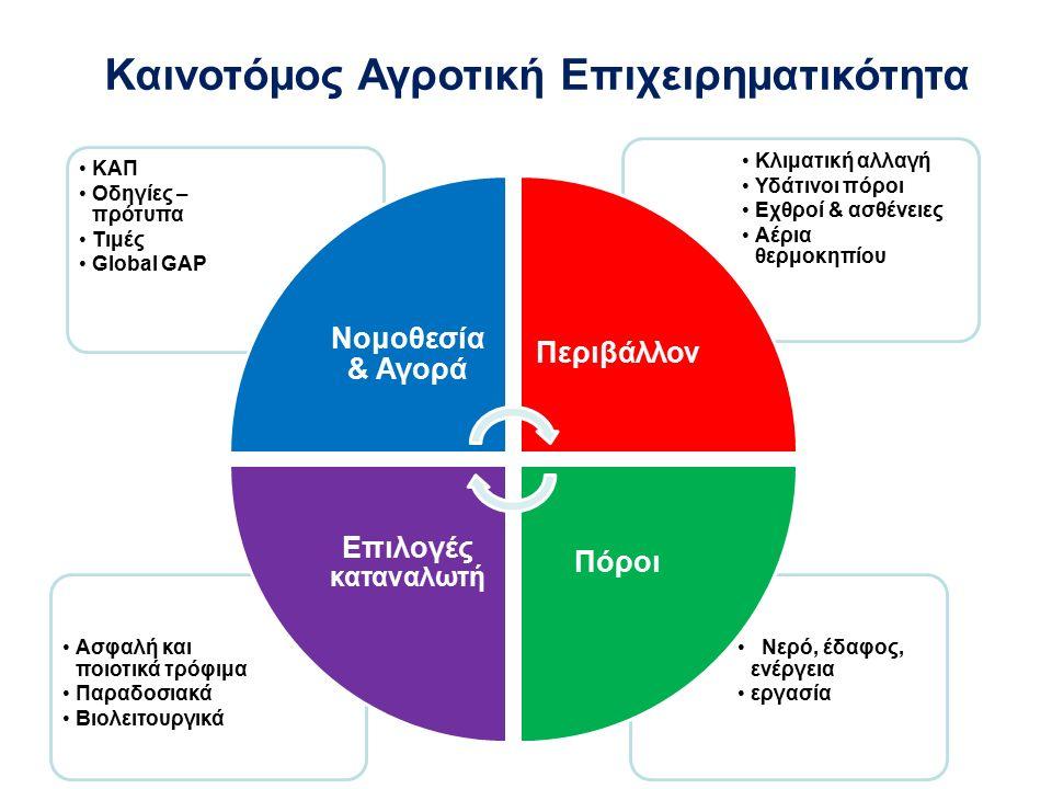 Γεωργική παραγωγή και επιχειρηματικότητα  Ποιοι θα παράγουν; (ηλικίες, εκπαίδευση, εμψύχωση)  Τι θα παράγουν; (έρευνα - κατάτμηση αγοράς, πλεονεκτήματα - μειονεκτήματα)  Πού - Πώς θα το παράγουν; (μέγεθος γεωργικών εκμεταλλεύσεων, χρήσεις γης, υδάτινοι πόροι, έργα υποδομής, προστασία από καιρικά φαινόμενα τεχνογνωσία - εφόδια, μέσα παραγωγής)  Πώς θα το εμπορευματοποιήσουν; (μονάδες μεταποίησης, δίκτυα διανομής) Επαγγελματική υποστήριξη στον πρωτογενή τομέα Ινστιτούτο Έρευνας και Τεχνολογίας Θεσσαλίας