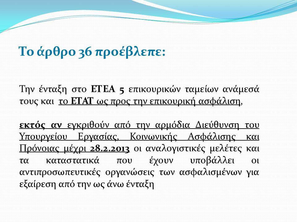 Το άρθρο 36 προέβλεπε: Την ένταξη στο ΕΤΕΑ 5 επικουρικών ταμείων ανάμεσά τους και το ΕΤΑΤ ως προς την επικουρική ασφάλιση, εκτός αν εγκριθούν από την αρμόδια Διεύθυνση του Υπουργείου Εργασίας, Κοινωνικής Ασφάλισης και Πρόνοιας μέχρι 28.2.2013 οι αναλογιστικές μελέτες και τα καταστατικά που έχουν υποβάλλει οι αντιπροσωπευτικές οργανώσεις των ασφαλισμένων για εξαίρεση από την ως άνω ένταξη