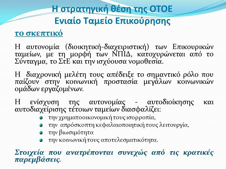 Η στρατηγική θέση της ΟΤΟΕ Ενιαίο Ταμείο Επικούρησης το σκεπτικό Η αυτονομία (διοικητική-διαχειριστική) των Επικουρικών ταμείων, με τη μορφή των ΝΠΙΔ, κατοχυρώνεται από το Σύνταγμα, το ΣτΕ και την ισχύουσα νομοθεσία.