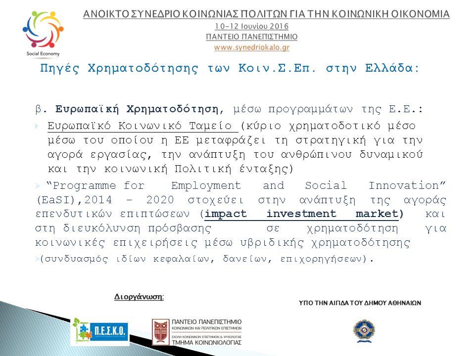 β. Ευρωπαϊκή Χρηματοδότηση, μέσω προγραμμάτων της Ε.Ε.:  Ευρωπαϊκό Κοινωνικό Ταμείο (κύριο χρηματοδοτικό μέσο μέσω του οποίου η ΕΕ μεταφράζει τη στρα
