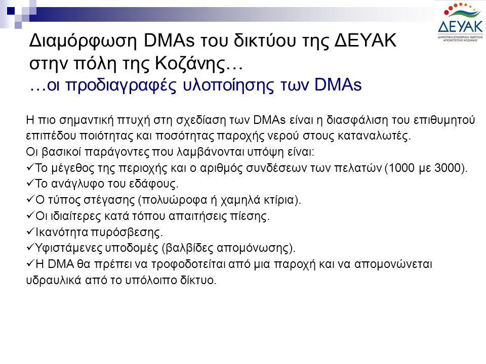 Διαμόρφωση DMAs του δικτύου της ΔΕΥΑΚ στην πόλη της Κοζάνης… …οι προδιαγραφές υλοποίησης των DMAs Η πιο σημαντική πτυχή στη σχεδίαση των DMAs είναι η διασφάλιση του επιθυμητού επιπέδου ποιότητας και ποσότητας παροχής νερού στους καταναλωτές.