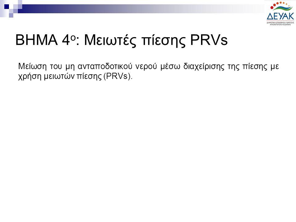 Μείωση του μη ανταποδοτικού νερού μέσω διαχείρισης της πίεσης με χρήση μειωτών πίεσης (PRVs). ΒΗΜΑ 4 ο : Μειωτές πίεσης PRVs