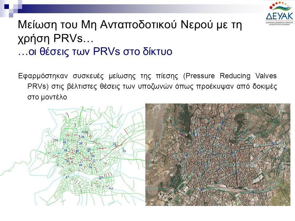 Μείωση του Μη Ανταποδοτικού Νερού με τη χρήση PRVs… …οι θέσεις των PRVs στο δίκτυο Εφαρμόστηκαν συσκευές μείωσης της πίεσης (Pressure Reducing Valves PRVs) στις βέλτιστες θέσεις των υποζωνών όπως προέκυψαν από δοκιμές στο μοντέλο