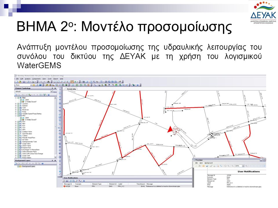 Ανάπτυξη μοντέλου προσομοίωσης της υδραυλικής λειτουργίας του συνόλου του δικτύου της ΔΕΥΑΚ με τη χρήση του λογισμικού WaterGEMS ΒΗΜΑ 2 ο : Μοντέλο προσομοίωσης