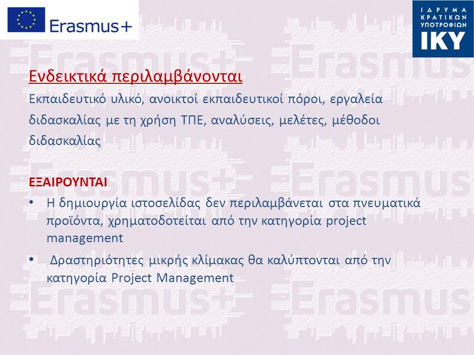 Ενδεικτικά περιλαμβάνονται Εκπαιδευτικό υλικό, ανοικτοί εκπαιδευτικοί πόροι, εργαλεία διδασκαλίας με τη χρήση ΤΠΕ, αναλύσεις, μελέτες, μέθοδοι διδασκαλίας ΕΞΑΙΡΟΥΝΤΑΙ Η δημιουργία ιστοσελίδας δεν περιλαμβάνεται στα πνευματικά προϊόντα, χρηματοδοτείται από την κατηγορία project management Δραστηριότητες μικρής κλίμακας θα καλύπτονται από την κατηγορία Project Management
