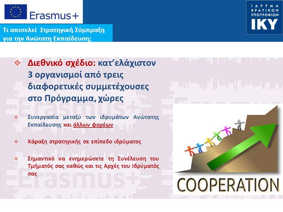 Date: in 12 pts Τι αποτελεί Στρατηγική Σύμπραξη για την Ανώτατη Εκπαίδευση;  Διεθνικό σχέδιο: κατ'ελάχιστον 3 οργανισμοί από τρεις διαφορετικές συμμετέχουσες στο Πρόγραμμα, χώρες  Συνεργασία μεταξύ των ιδρυμάτων Ανώτατης Εκπαίδευσης και άλλων φορέων  Χάραξη στρατηγικής σε επίπεδο ιδρύματος  Σημαντικό να ενημερώσετε τη Συνέλευση του Τμήματός σας καθώς και τις Αρχές του Ιδρύματός σας