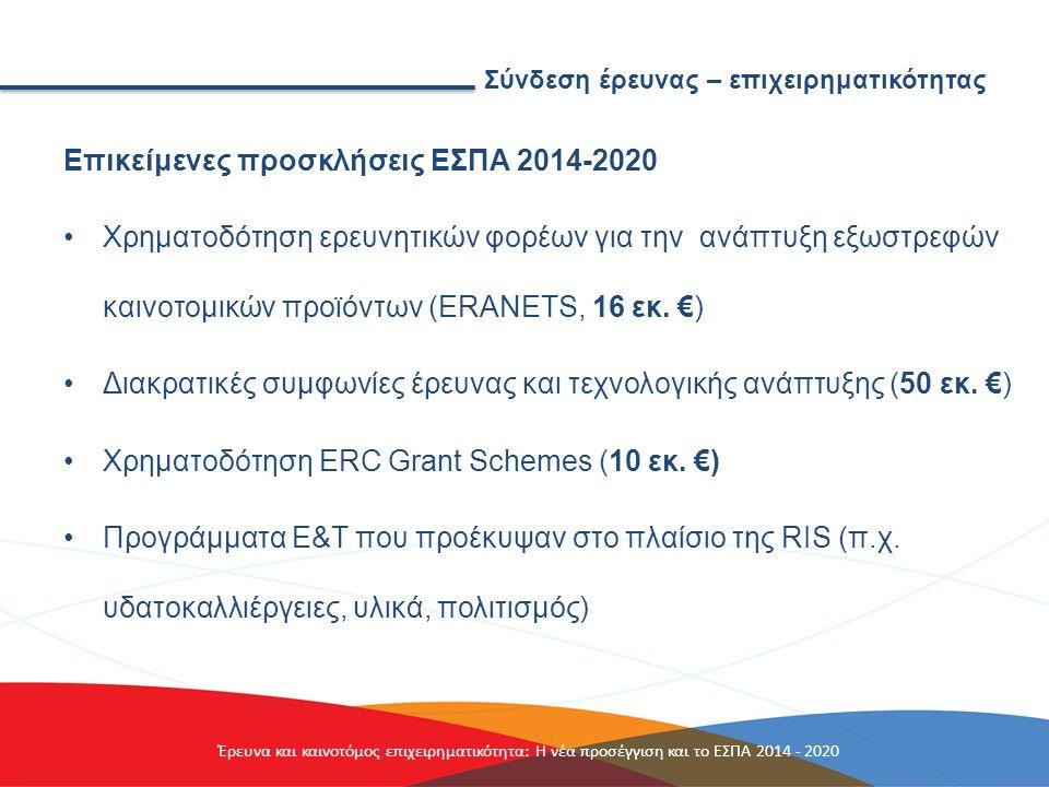 Σύνδεση έρευνας – επιχειρηματικότητας Επικείμενες προσκλήσεις ΕΣΠΑ 2014-2020 Χρηματοδότηση ερευνητικών φορέων για την ανάπτυξη εξωστρεφών καινοτομικών προϊόντων (ΕRANETS, 16 εκ.