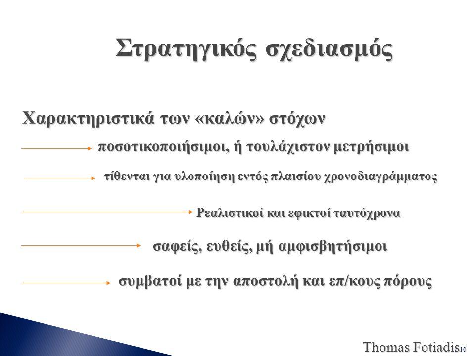 1-10 Thomas Fotiadis Στρατηγικός σχεδιασμός Χαρακτηριστικά των «καλών» στόχων Χαρακτηριστικά των «καλών» στόχων ποσοτικοποιήσιμοι, ή τουλάχιστον μετρήσιμοι ποσοτικοποιήσιμοι, ή τουλάχιστον μετρήσιμοι τίθενται για υλοποίηση εντός πλαισίου χρονοδιαγράμματος τίθενται για υλοποίηση εντός πλαισίου χρονοδιαγράμματος Ρεαλιστικοί και εφικτοί ταυτόχρονα σαφείς, ευθείς, μή αμφισβητήσιμοι σαφείς, ευθείς, μή αμφισβητήσιμοι συμβατοί με την αποστολή και επ/κους πόρους συμβατοί με την αποστολή και επ/κους πόρους