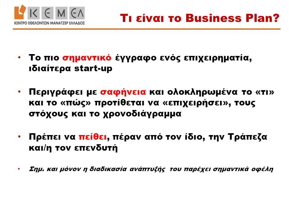 Το πιο σημαντικό έγγραφο ενός επιχειρηματία, ιδιαίτερα start-up Περιγράφει με σαφήνεια και ολοκληρωμένα το «τι» και το «πώς» προτίθεται να «επιχειρήσε