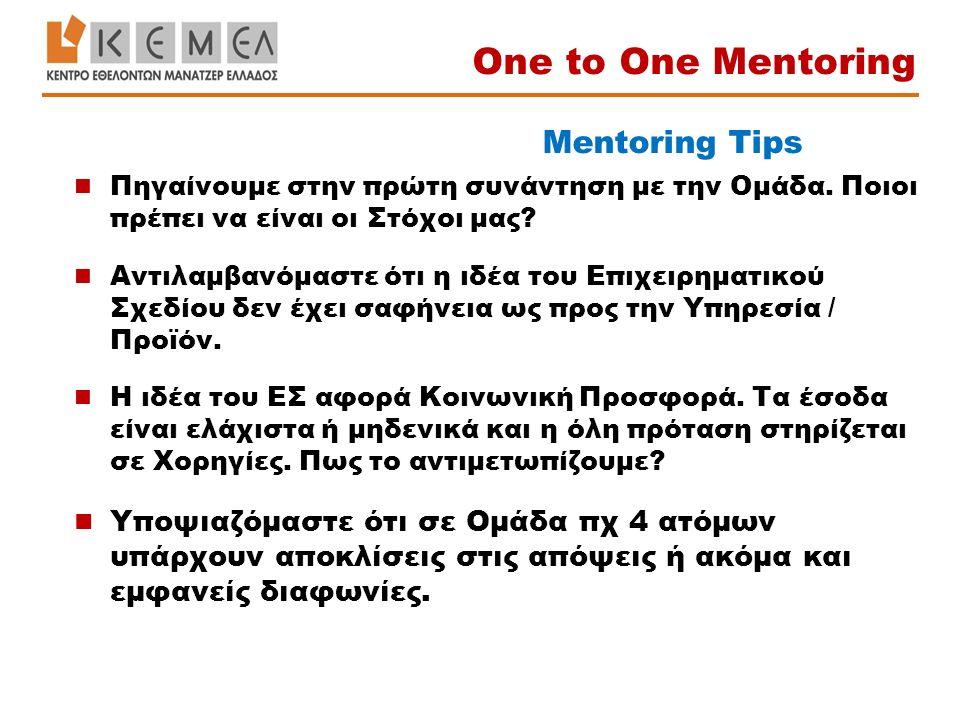 Mentoring Tips Πηγαίνουμε στην πρώτη συνάντηση με την Ομάδα. Ποιοι πρέπει να είναι οι Στόχοι μας? Αντιλαμβανόμαστε ότι η ιδέα του Επιχειρηματικού Σχεδ