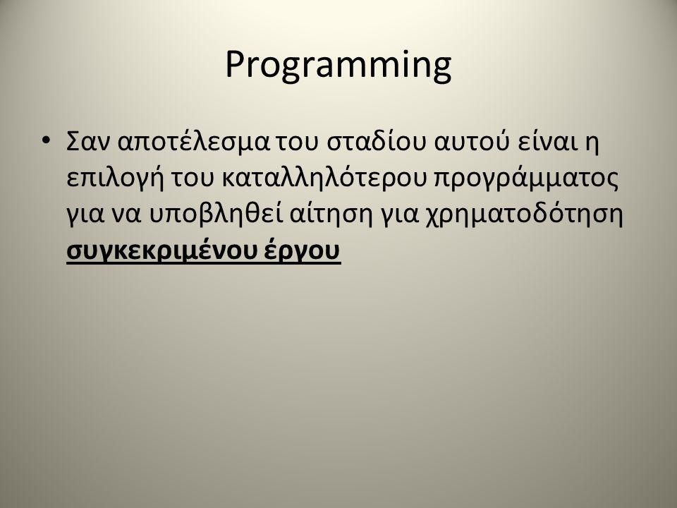 Programming Σαν αποτέλεσμα του σταδίου αυτού είναι η επιλογή του καταλληλότερου προγράμματος για να υποβληθεί αίτηση για χρηματοδότηση συγκεκριμένου έργου
