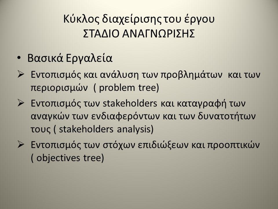 Κύκλος διαχείρισης του έργου ΣΤΑΔΙΟ ΑΝΑΓΝΩΡΙΣΗΣ Βασικά Εργαλεία  Εντοπισμός και ανάλυση των προβλημάτων και των περιορισμών ( problem tree)  Εντοπισμός των stakeholders και καταγραφή των αναγκών των ενδιαφερόντων και των δυνατοτήτων τους ( stakeholders analysis)  Εντοπισμός των στόχων επιδιώξεων και προοπτικών ( objectives tree)
