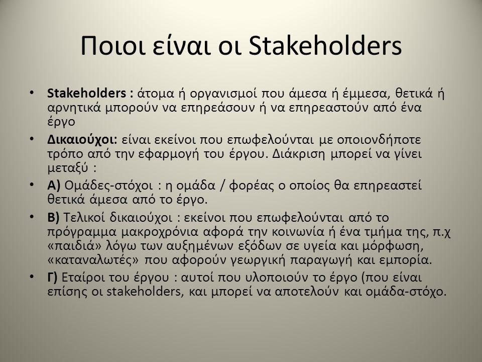Ποιοι είναι οι Stakeholders Stakeholders : άτομα ή οργανισμοί που άμεσα ή έμμεσα, θετικά ή αρνητικά μπορούν να επηρεάσουν ή να επηρεαστούν από ένα έργο Δικαιούχοι: είναι εκείνοι που επωφελούνται με οποιονδήποτε τρόπο από την εφαρμογή του έργου.