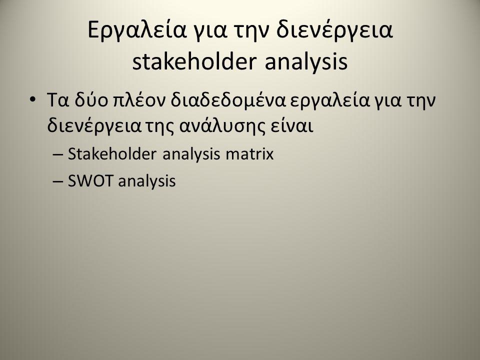 Εργαλεία για την διενέργεια stakeholder analysis Τα δύο πλέον διαδεδομένα εργαλεία για την διενέργεια της ανάλυσης είναι – Stakeholder analysis matrix – SWOT analysis