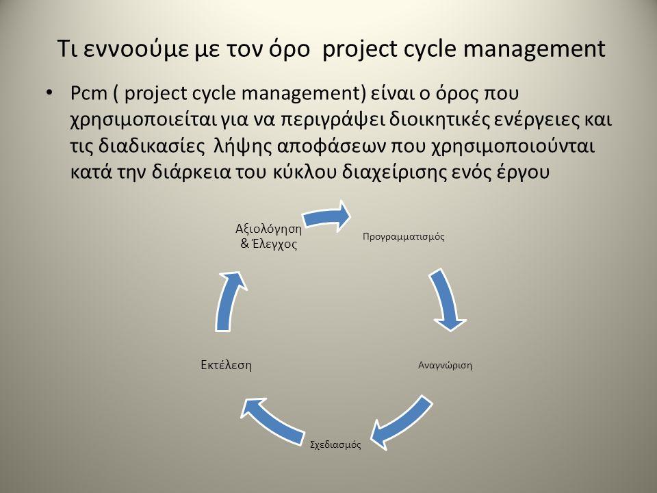 Τι εννοούμε με τον όρο project cycle management Pcm ( project cycle management) είναι ο όρος που χρησιμοποιείται για να περιγράψει διοικητικές ενέργειες και τις διαδικασίες λήψης αποφάσεων που χρησιμοποιούνται κατά την διάρκεια του κύκλου διαχείρισης ενός έργου Προγραμματισμός Αναγνώριση Σχεδιασμός Εκτέλεση Αξιολόγηση & Έλεγχος