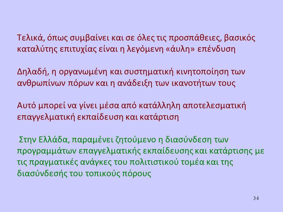 Τελικά, όπως συμβαίνει και σε όλες τις προσπάθειες, βασικός καταλύτης επιτυχίας είναι η λεγόμενη «άυλη» επένδυση Δηλαδή, η οργανωμένη και συστηματική κινητοποίηση των ανθρωπίνων πόρων και η ανάδειξη των ικανοτήτων τους Αυτό μπορεί να γίνει μέσα από κατάλληλη αποτελεσματική επαγγελματική εκπαίδευση και κατάρτιση Στην Ελλάδα, παραμένει ζητούμενο η διασύνδεση των προγραμμάτων επαγγελματικής εκπαίδευσης και κατάρτισης με τις πραγματικές ανάγκες του πολιτιστικού τομέα και της διασύνδεσής του τοπικούς πόρους 34