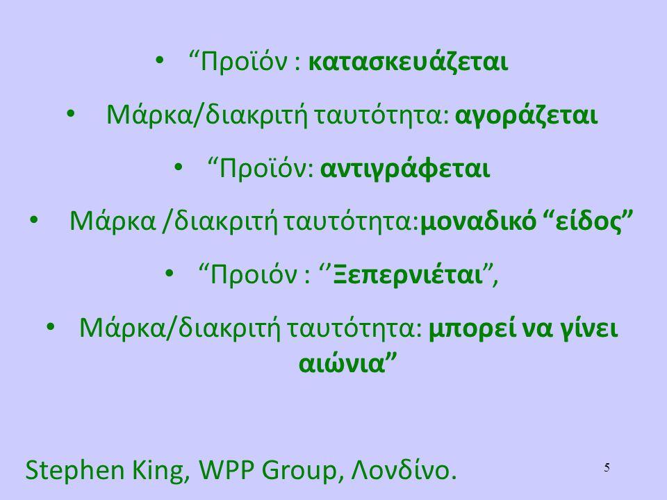 Προϊόν : κατασκευάζεται Mάρκα/διακριτή ταυτότητα: αγοράζεται Προϊόν: αντιγράφεται Μάρκα /διακριτή ταυτότητα:μοναδικό είδος Προιόν : ''Ξεπερνιέται , Mάρκα/διακριτή ταυτότητα: μπορεί να γίνει αιώνια Stephen King, WPP Group, Λονδίνο.