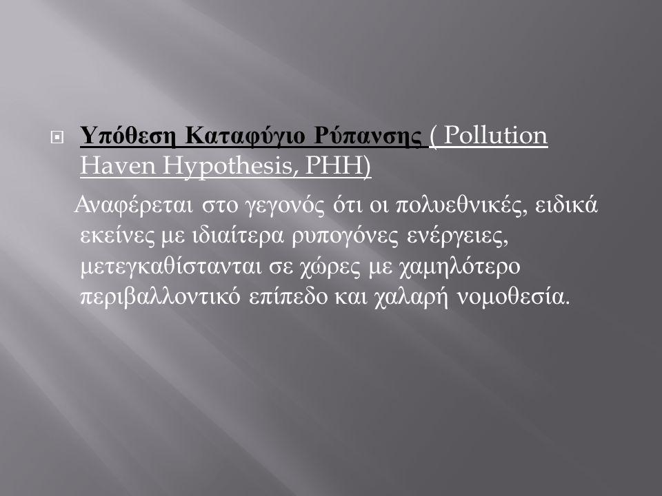  Υπόθεση Καταφύγιο Ρύπανσης ( Pollution Haven Hypothesis, PHH) Αναφέρεται στο γεγονός ότι οι πολυεθνικές, ειδικά εκείνες με ιδιαίτερα ρυπογόνες ενέργειες, μετεγκαθίστανται σε χώρες με χαμηλότερο περιβαλλοντικό επίπεδο και χαλαρή νομοθεσία.