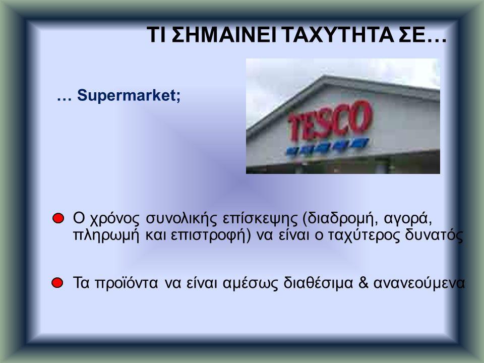 … Supermarket; Ο χρόνος συνολικής επίσκεψης (διαδρομή, αγορά, πληρωμή και επιστροφή) να είναι ο ταχύτερος δυνατός Τα προϊόντα να είναι αμέσως διαθέσιμ