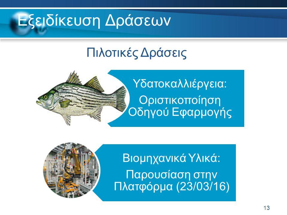 Εξειδίκευση Δράσεων Υδατοκαλλιέργεια: Οριστικοποίηση Οδηγού Εφαρμογής Βιομηχανικά Υλικά: Παρουσίαση στην Πλατφόρμα (23/03/16) 13 Πιλοτικές Δράσεις