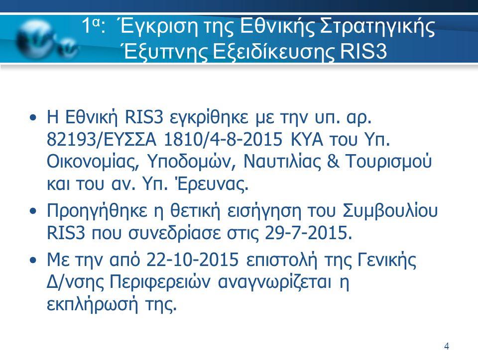 1 α : Έγκριση της Εθνικής Στρατηγικής Έξυπνης Εξειδίκευσης RIS3 Η Εθνική RIS3 εγκρίθηκε με την υπ. αρ. 82193/ΕΥΣΣΑ 1810/4-8-2015 ΚΥΑ του Υπ. Οικονομία