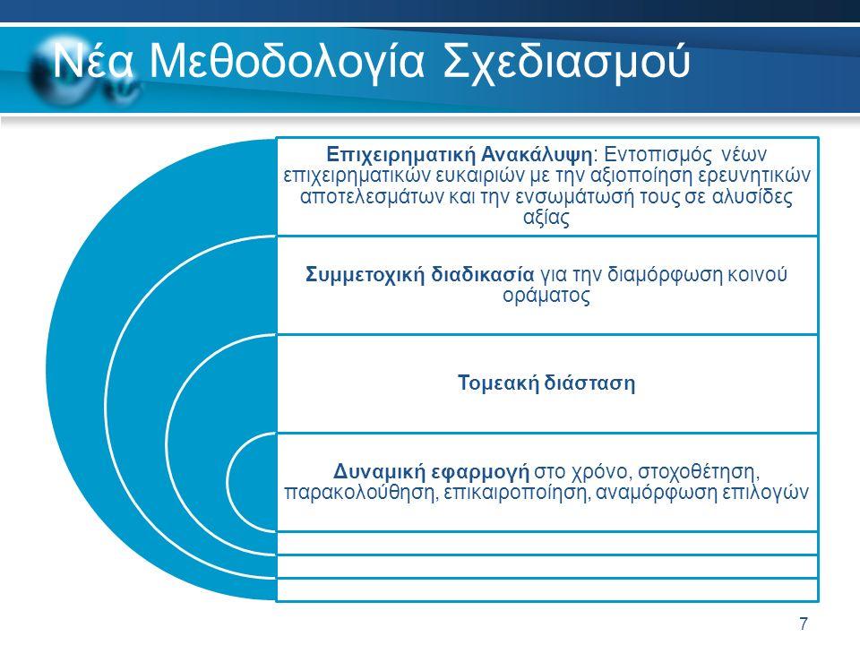 Νέα Μεθοδολογία Σχεδιασμού Επιχειρηματική Ανακάλυψη: Εντοπισμός νέων επιχειρηματικών ευκαιριών με την αξιοποίηση ερευνητικών αποτελεσμάτων και την ενσωμάτωσή τους σε αλυσίδες αξίας Συμμετοχική διαδικασία για την διαμόρφωση κοινού οράματος Τομεακή διάσταση Δυναμική εφαρμογή στο χρόνο, στοχοθέτηση, παρακολούθηση, επικαιροποίηση, αναμόρφωση επιλογών 7