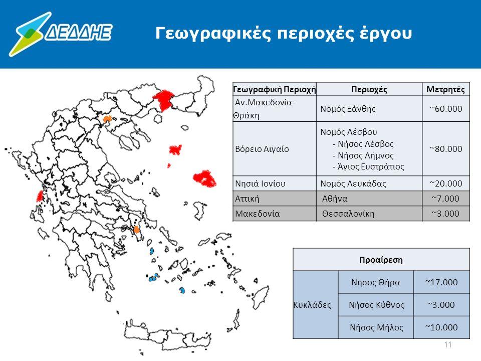 Γεωγραφική ΠεριοχήΠεριοχέςΜετρητές Αν.Μακεδονία- Θράκη Νομός Ξάνθης~60.000 Βόρειο Αιγαίο Νομός Λέσβου - Νήσος Λέσβος - Νήσος Λήμνος - Άγιος Ευστράτιος