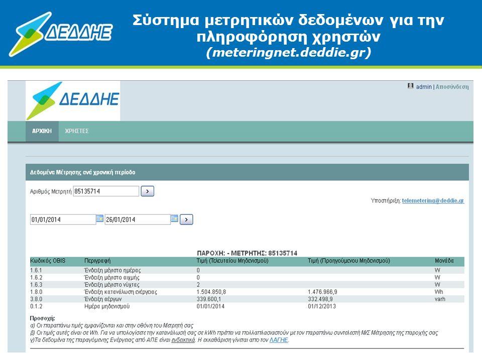 Σύστημα μετρητικών δεδομένων για την πληροφόρηση χρηστών (meteringnet.deddie.gr) 7
