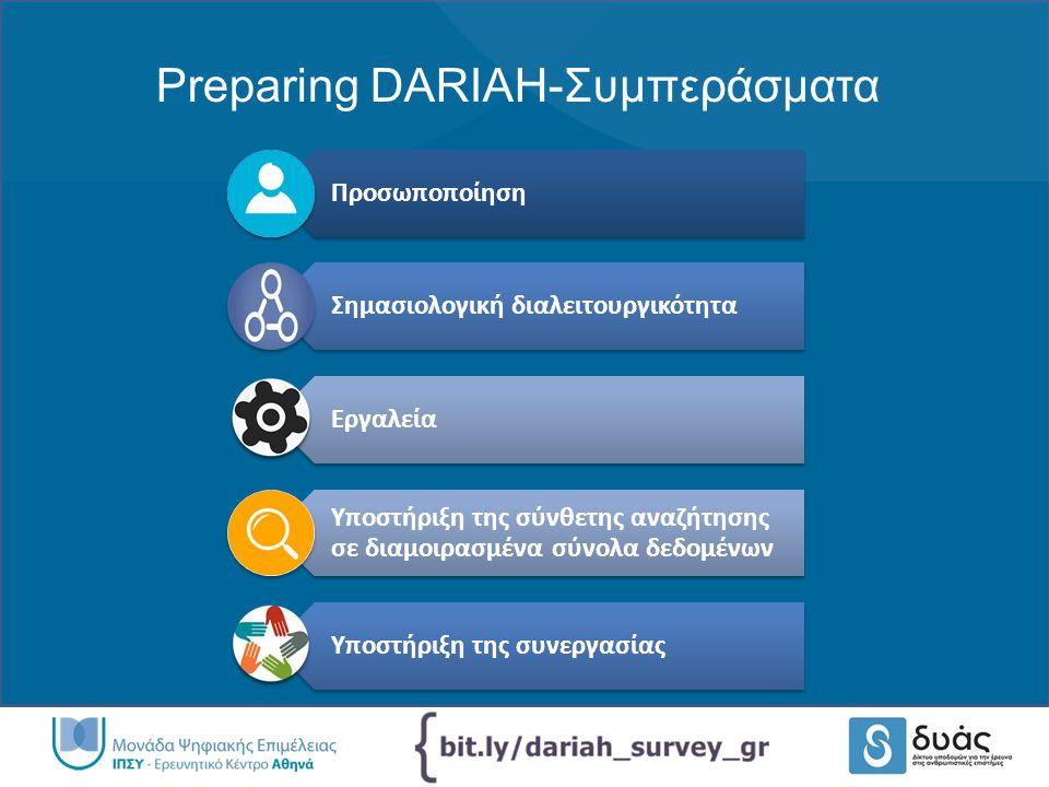 Preparing DARIAH-Συμπεράσματα Προσωποποίηση Σημασιολογική διαλειτουργικότητα Εργαλεία Υποστήριξη της σύνθετης αναζήτησης σε διαμοιρασμένα σύνολα δεδομένων Υποστήριξη της συνεργασίας