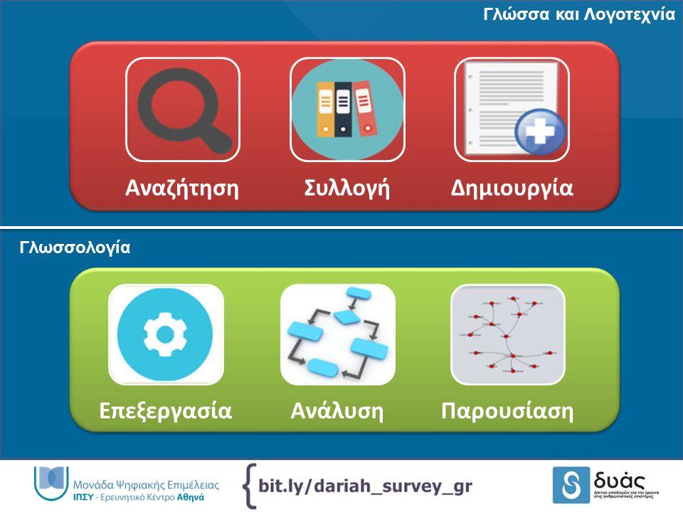 ΑναζήτησηΣυλλογήΔημιουργία ΕπεξεργασίαΑνάλυσηΠαρουσίαση Γλώσσα και Λογοτεχνία Γλωσσολογία