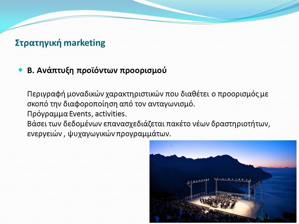 Στρατηγική marketing Β. Ανάπτυξη προϊόντων προορισμού Περιγραφή μοναδικών χαρακτηριστικών που διαθέτει ο προορισμός με σκοπό την διαφοροποίηση από τον