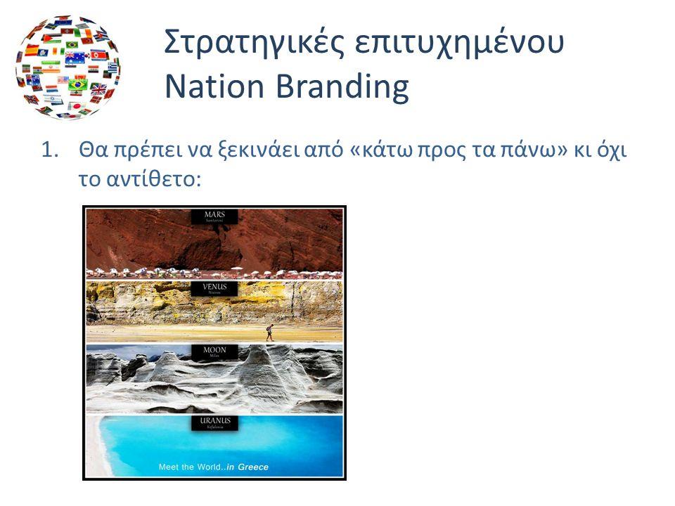 Στρατηγικές επιτυχημένου Nation Branding 1.Θα πρέπει να ξεκινάει από «κάτω προς τα πάνω» κι όχι το αντίθετο:
