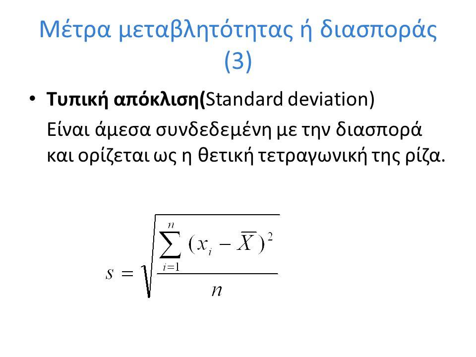 Μέτρα κύρτωσης(2) Ένα μέτρο κύρτωσης για την κατανομή ενός συνόλου δεδομένων δίνεται από την σχέση: