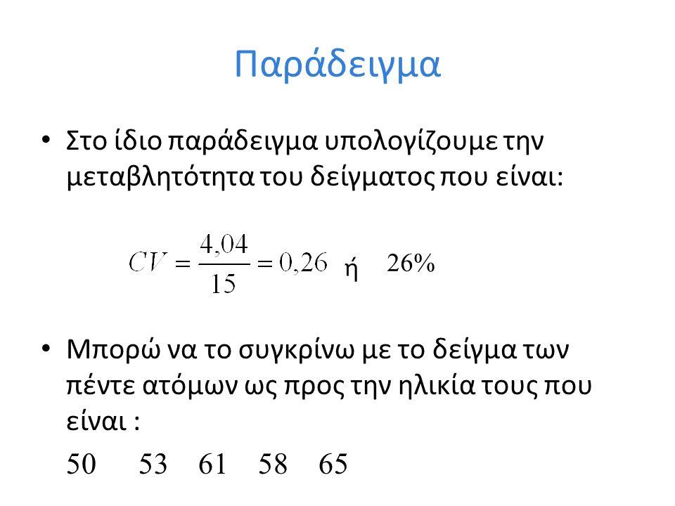 Παράδειγμα Στο ίδιο παράδειγμα υπολογίζουμε την μεταβλητότητα του δείγματος που είναι: Μπορώ να το συγκρίνω με το δείγμα των πέντε ατόμων ως προς την ηλικία τους που είναι : 50 53 61 58 65 ή 26%