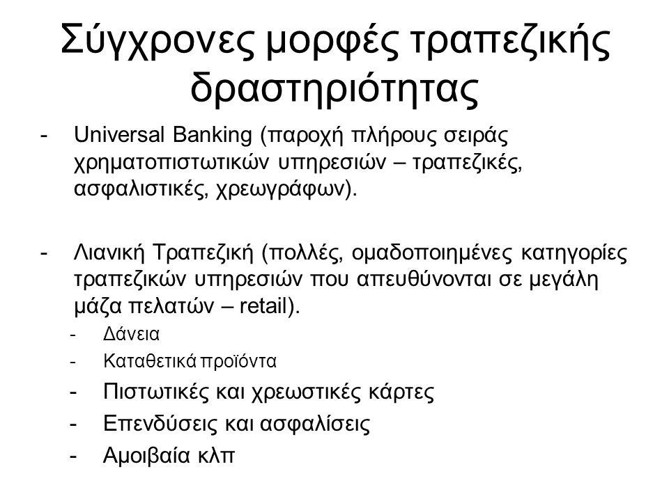 Σύγχρονες μορφές τραπεζικής δραστηριότητας -Universal Banking (παροχή πλήρους σειράς χρηματοπιστωτικών υπηρεσιών – τραπεζικές, ασφαλιστικές, χρεωγράφων).