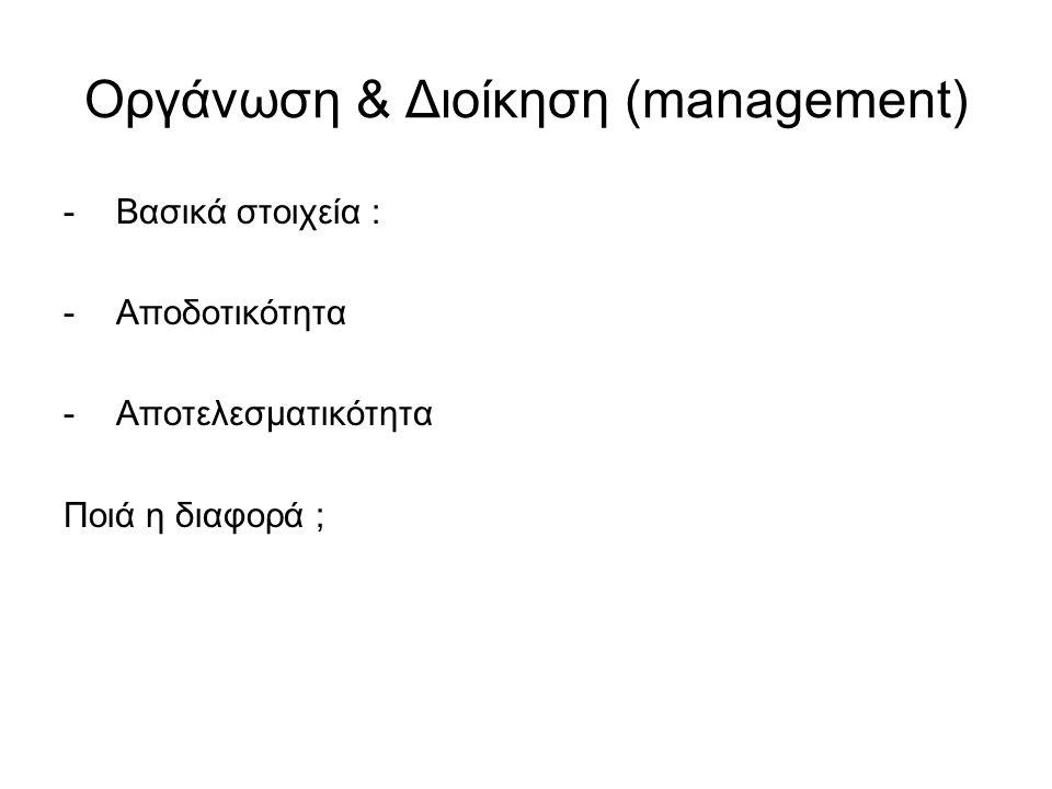 Οργάνωση & Διοίκηση (management) -Βασικά στοιχεία : -Αποδοτικότητα -Αποτελεσματικότητα Ποιά η διαφορά ;