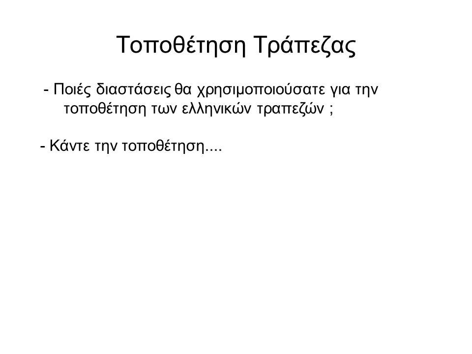 Τοποθέτηση Τράπεζας - Ποιές διαστάσεις θα χρησιμοποιούσατε για την τοποθέτηση των ελληνικών τραπεζών ; - Κάντε την τοποθέτηση....