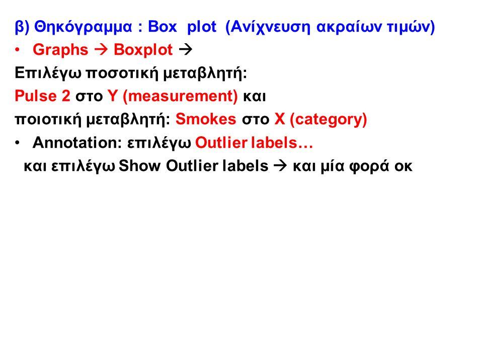 β) Θηκόγραμμα : Box plot (Ανίχνευση ακραίων τιμών) Graphs  Boxplot  Επιλέγω ποσοτική μεταβλητή: Pulse 2 στο Y (measurement) και ποιοτική μεταβλητή: Smokes στο Χ (category) Annotation: επιλέγω Outlier labels… και επιλέγω Show Outlier labels  και μία φορά οκ