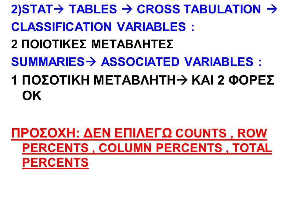 2)STAT  TABLES  CROSS TABULATION  CLASSIFICATION VARIABLES : 2 ΠΟΙΟΤΙΚΕΣ ΜΕΤΑΒΛΗΤΕΣ SUMMARIES  ASSOCIATED VARIABLES : 1 ΠΟΣΟΤΙΚΗ ΜΕΤΑΒΛΗΤΗ  ΚΑΙ 2 ΦΟΡΕΣ ΟΚ ΠΡΟΣΟΧΗ: ΔΕΝ ΕΠΙΛΕΓΩ COUNTS, ROW PERCENTS, COLUMN PERCENTS, TOTAL PERCENTS