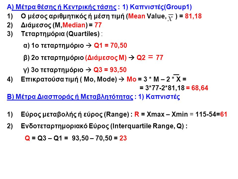 Rows: Smokes Columns: Activity ΚΑΘΟΛΟΥ 0 ΜΙΚΡΗ 1 ΜΕΤΡΙΑ 2 ΕΝΤΟΝΗ 3 All ΚΑΠΝΙΣΤΕΣ 1 150,00158,33152,26149,20152,29 ΜΗ ΚΑΠΝΙΣΤΕΣ 2 --144,50139,90146,69142,03 All 150,00149,11143,75147,29145,15 Cell Contents Weight: Mean