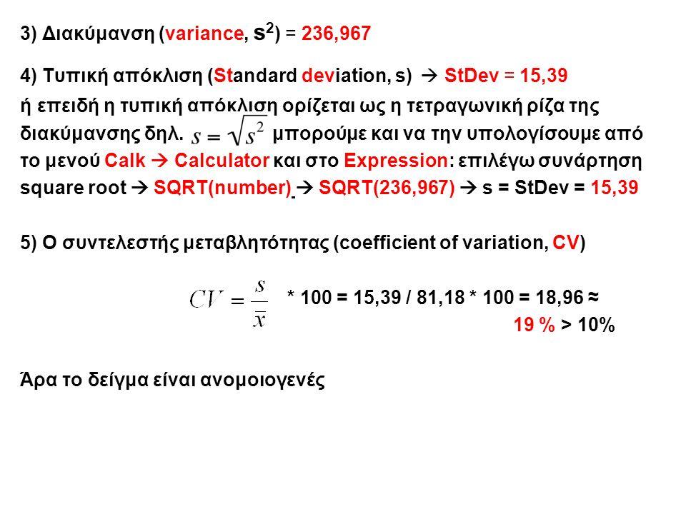 3) Διακύμανση (variance, s 2 ) = 236,967 4) Τυπική απόκλιση (Standard deviation, s)  StDev = 15,39 ή επειδή η τυπική απόκλιση ορίζεται ως η τετραγωνική ρίζα της διακύμανσης δηλ.
