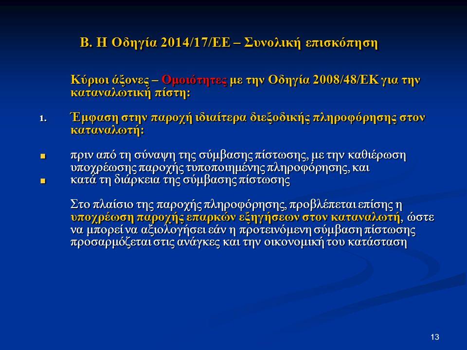 Β. Η Οδηγία 2014/17/ΕΕ – Συνολική επισκόπηση Β.
