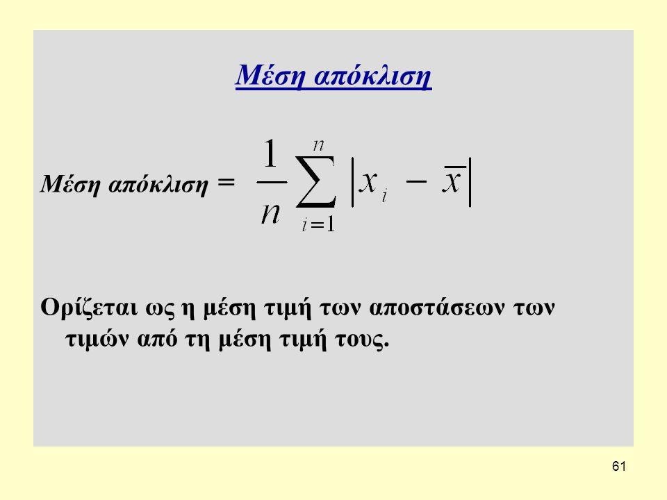 61 Μέση απόκλιση Μέση απόκλιση = Ορίζεται ως η μέση τιμή των αποστάσεων των τιμών από τη μέση τιμή τους.