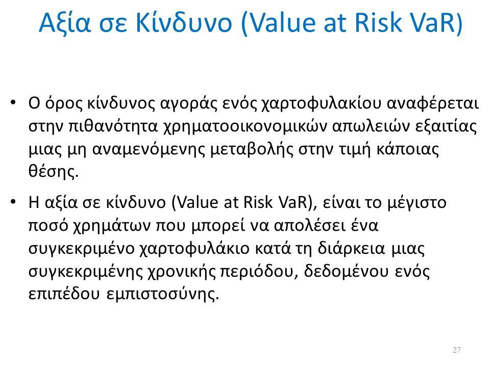 Αξία σε Κίνδυνο (Value at Risk VaR ) Ο όρος κίνδυνος αγοράς ενός χαρτοφυλακίου αναφέρεται στην πιθανότητα χρηματοοικονομικών απωλειών εξαιτίας μιας μη αναμενόμενης μεταβολής στην τιμή κάποιας θέσης.
