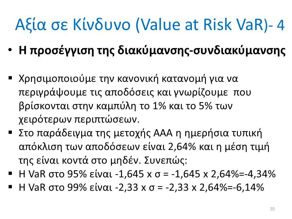 Αξία σε Κίνδυνο (Value at Risk VaR )- 4 Η προσέγγιση της διακύμανσης-συνδιακύμανσης  Χρησιμοποιούμε την κανονική κατανομή για να περιγράψουμε τις αποδόσεις και γνωρίζουμε που βρίσκονται στην καμπύλη το 1% και το 5% των χειρότερων περιπτώσεων.