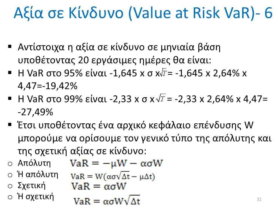 Αξία σε Κίνδυνο (Value at Risk VaR)- 6  Αντίστοιχα η αξία σε κίνδυνο σε μηνιαία βάση υποθέτοντας 20 εργάσιμες ημέρες θα είναι:  Η VaR στο 95% είναι -1,645 x σ x = -1,645 x 2,64% x 4,47=-19,42%  Η VaR στο 99% είναι -2,33 x σ x = -2,33 x 2,64% x 4,47= -27,49%  Έτσι υποθέτοντας ένα αρχικό κεφάλαιο επένδυσης W μπορούμε να ορίσουμε τον γενικό τύπο της απόλυτης και της σχετική αξίας σε κίνδυνο: o Απόλυτη o Ή απόλυτη o Σχετική o Ή σχετική 32