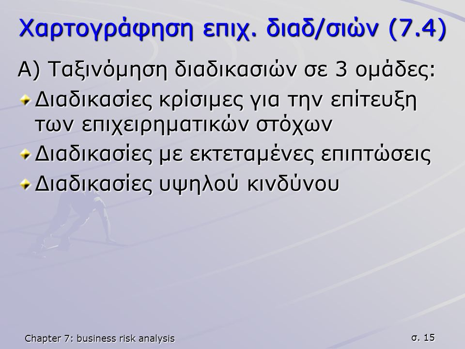 Chapter 7: business risk analysis σ. 15 Χαρτογράφηση επιχ.