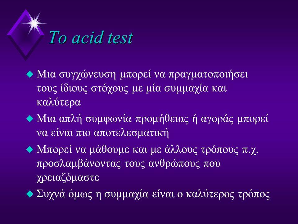 Το acid test u Mια συγχώνευση μπορεί να πραγματοποιήσει τους ίδιους στόχους με μία συμμαχία και καλύτερα u Μια απλή συμφωνία προμήθειας ή αγοράς μπορεί να είναι πιο αποτελεσματική u Μπορεί να μάθουμε και με άλλους τρόπους π.χ.