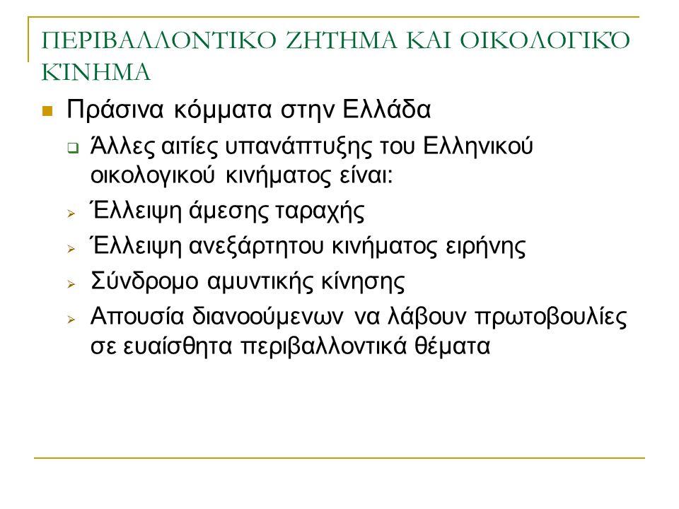 ΠΕΡΙΒΑΛΛΟΝΤΙΚΟ ΖΗΤΗΜΑ ΚΑΙ ΟΙΚΟΛΟΓΙΚΌ ΚΊΝΗΜΑ Πράσινα κόμματα στην Ελλάδα  Άλλες αιτίες υπανάπτυξης του Ελληνικού οικολογικού κινήματος είναι:  Έλλειψη άμεσης ταραχής  Έλλειψη ανεξάρτητου κινήματος ειρήνης  Σύνδρομο αμυντικής κίνησης  Απουσία διανοούμενων να λάβουν πρωτοβουλίες σε ευαίσθητα περιβαλλοντικά θέματα