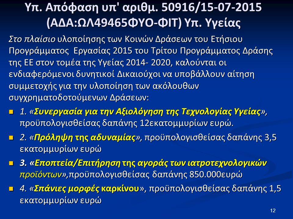 Υπ. Απόφαση υπ αριθμ. 50916/15-07-2015 (ΑΔΑ:ΩΛ49465ΦΥΟ-ΦΙΤ) Υπ.